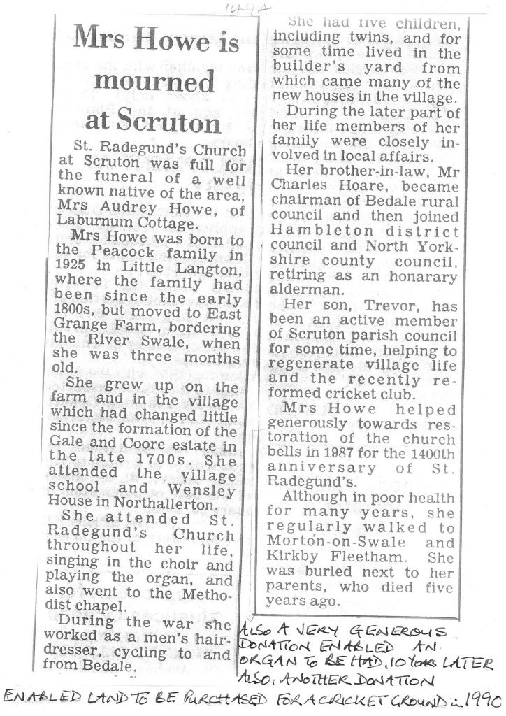 Newspaper article - Mrs Hoare is mourned at Scruton